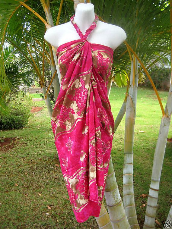 Sarong Pink Brown Turtle Hawaiian Luau Pareo Wrap Dress