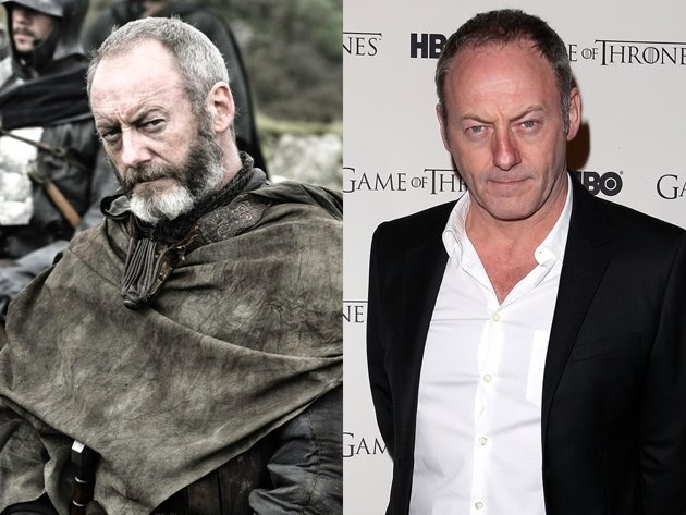 """Liam Cunningham (Davos Seaworth) - That stern stare seems to be a permanent fixture for Liam Cunningham. Without the intense, black and white beard of his """"Games of Thrones"""" counterpart Davos Seaworth, Cunningham looks much younger off-screen. Although we still think he's a dead ringer for """"Parks and Recreation's"""" Nick Offerman. They could play brothers!"""