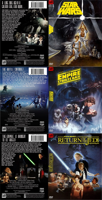 Star Wars Trilogy DVD Covers - Star Wars [1977] The Empire Strikes Back [1980] and Return of the Jedi [1983]