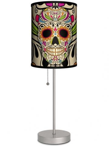 Silver Lamp With Sugar Skull Shade by Lamp in A Box - 1
