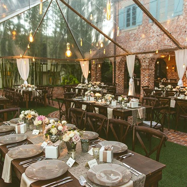 The glass tent from Jenni's Casa Feliz wedding! What a dream! #casafeliz #realwedding #tentwedding #winterpark. Photo by Concept Photography