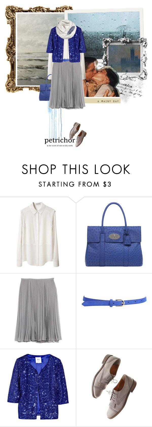 """""""How a cloud would dress."""" by reblou ❤ liked on Polyvore featuring Tiffany & Co., T By Alexander Wang, Mulberry, Halston Heritage, Forever 21, Madewell, AllSaints, top handle bags, pleated skirts and sequins"""