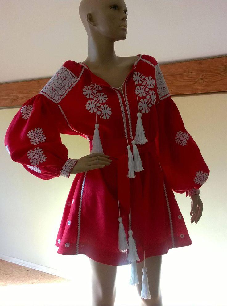Ukrainian Vyshyvanka Dress Boho Style. Linen Dress with Ukrainain embroidery patterns. VYSHYVANKA. Free Shipping. by ReFreshUA on Etsy