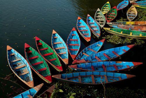 Boats in Fewa Lake, Pokhara, Nepal
