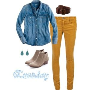 mustard-yellow-skinny-jeans-beige-ankle-boots-and-denim-shirt-outfit.jpg 300×300 pixels