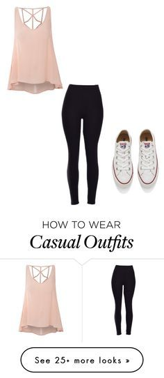 """""""Casually cute"""" by hammiegrl on Polyvore featuring Converse, Glamorous, women's clothing, women, female, woman, misses and juniors"""