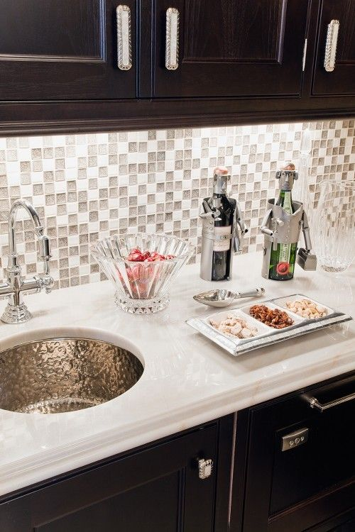 Gray Kitchen Backsplash with that awesome sink!! Yes please!!