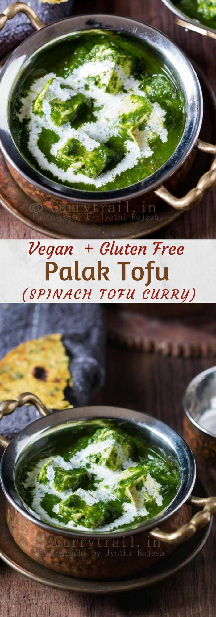 Palak tofu is a vegan version of palak paneer. This is Tofu cooked in spinach curry with mild spices is lip smacking good when served with rotis or naan. Palak tofu curry will be ready in less than 30 minutes and it's VEGAN! #vegancurry #veganlife #palaktofu #tofucurry #tofu #veganpalakpaneer