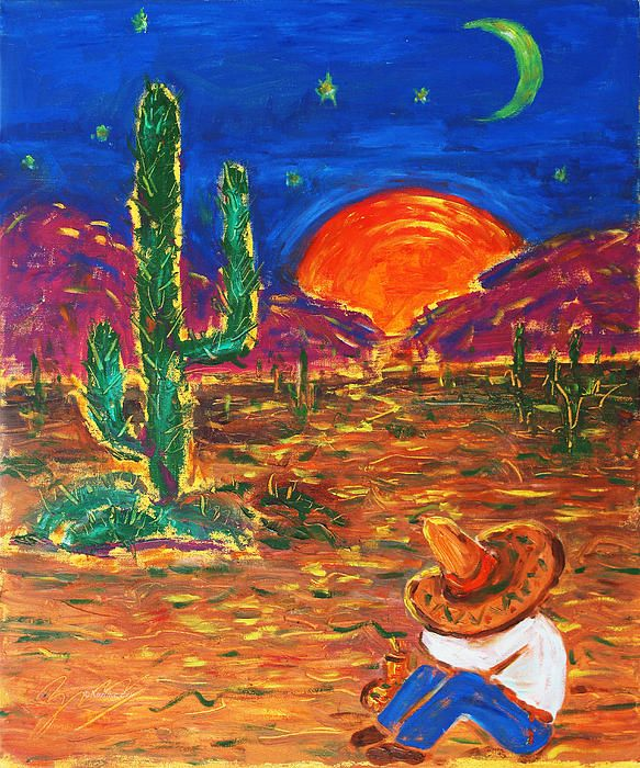 'Mexico Impression III' ©Xueling Zou;  gift, greeting cards, posters, prints, fine art, original art, corporate art, home decor, wall image, interior, wallpaper, $6.00, for sale, landscape, desert, sunrise, sunset, cowboys, southwest, Mexico, Mexican, folk art, impressionism, impressionist, nature, outdoors, moon, sun, starts, Mesoamerica, cactus, hat,  Painting