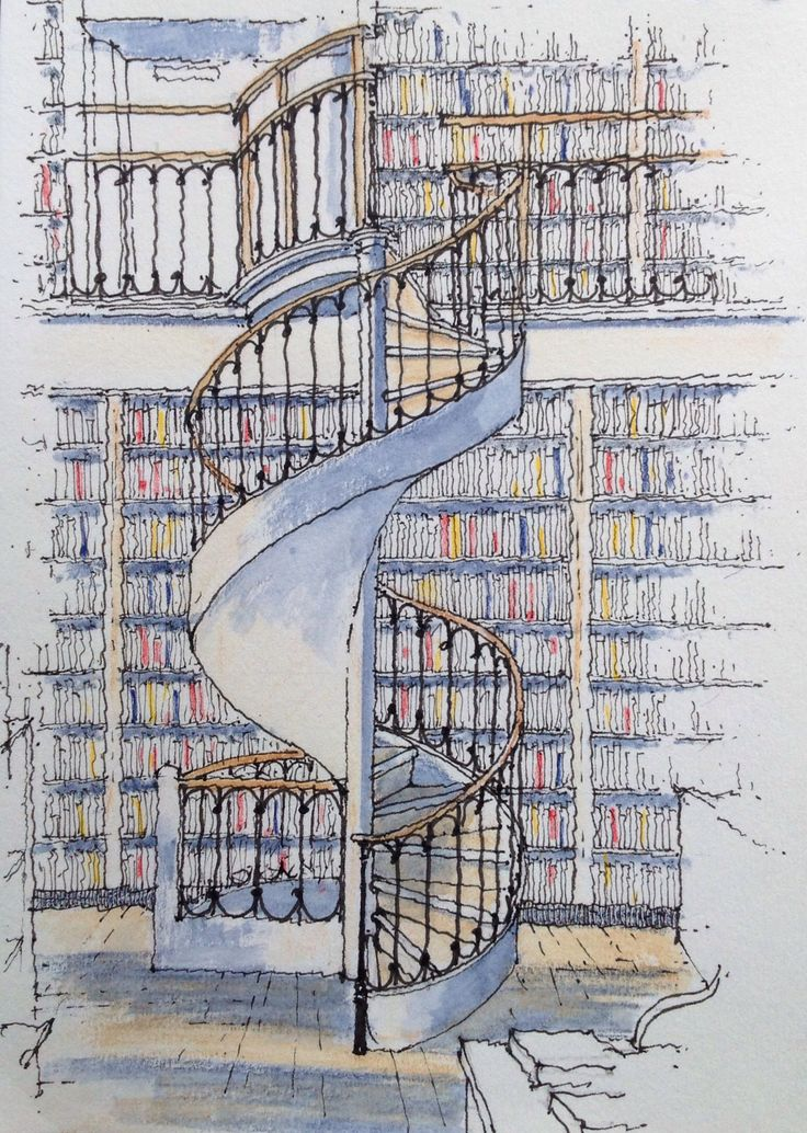 Leeds Library .. spiral stair ~ sketch ~ John Edwards