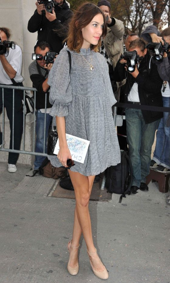 Alexa Chung in Chanel dress - At Chanel show at Paris Fashion Week. (October 2011) | @andwhatelse
