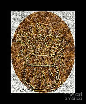 Barbara Griffin - Brass Etching - Oval - Sunflowers