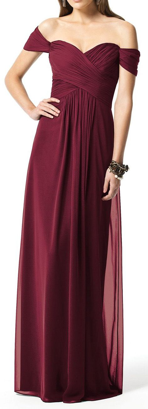 Elegant 2017 Simple Burgundy Long Bridesmaid Dress, Wedding Party dress, Wedding Gown, Bridal Gown,  Off the Shoulder Chiffon Burgundy Bridesmaid Dress, Bridesmaid gown