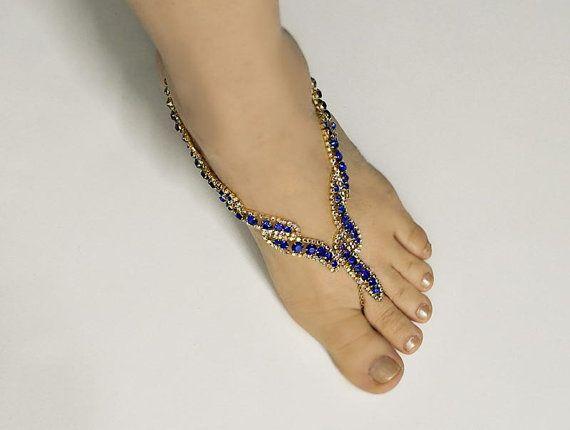 Rojo, azul Roya boda sandalias Descalzas, novia pie sandalia sin pies de joyería, joyería de diamantes de imitación,-SD014