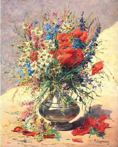 Edmond Van Coppenolle (1846-1914) - Bouquet de coquelicots - Huile sur toile
