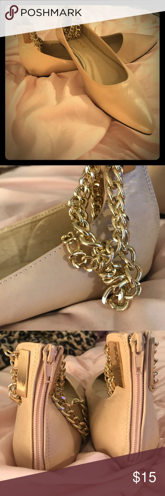 Nude flats with gold wrap chains ✨ Nude flats with gold wrap ankle chains and zip up backs. Worn twice - great condition! Liliana Shoes Flats & Loafers