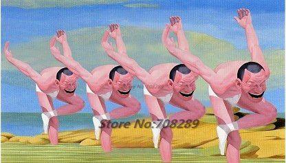 Юмор Известный Современный Художник Minjun Юэ Улыбающееся Лицо Холст Современная Декоративная Абстрактное Искусство Картины Стены Масляной Живописи Y-2