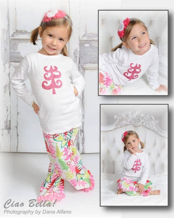 Pink Glitter Christmas Tree Pajamas, Girls Christmas Pajamas, Christmas Pajamas for Children, Kids Christmas Pajamas, 2T, 3T, 4T, 6, 8, 10