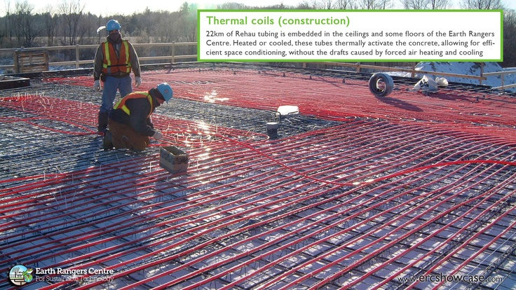 22km of rehau tubing being embedded into the floors and ceilings of the Earth Rangers Centre.