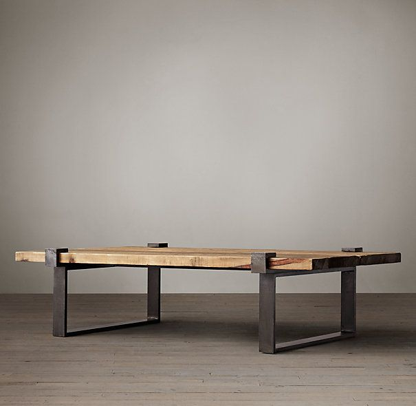 Restoration Hardware - Reclaimed Pine and Steel Clamp Coffee Table