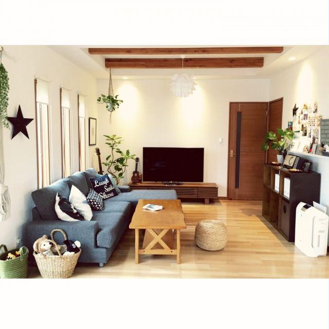 ニトリのソファー/ニトリのクッションカバー/リビング/IKEA/ハワイ大好き…などのインテリア実例 - 2015-04-07 17:09:42 | RoomClip(ルームクリップ)