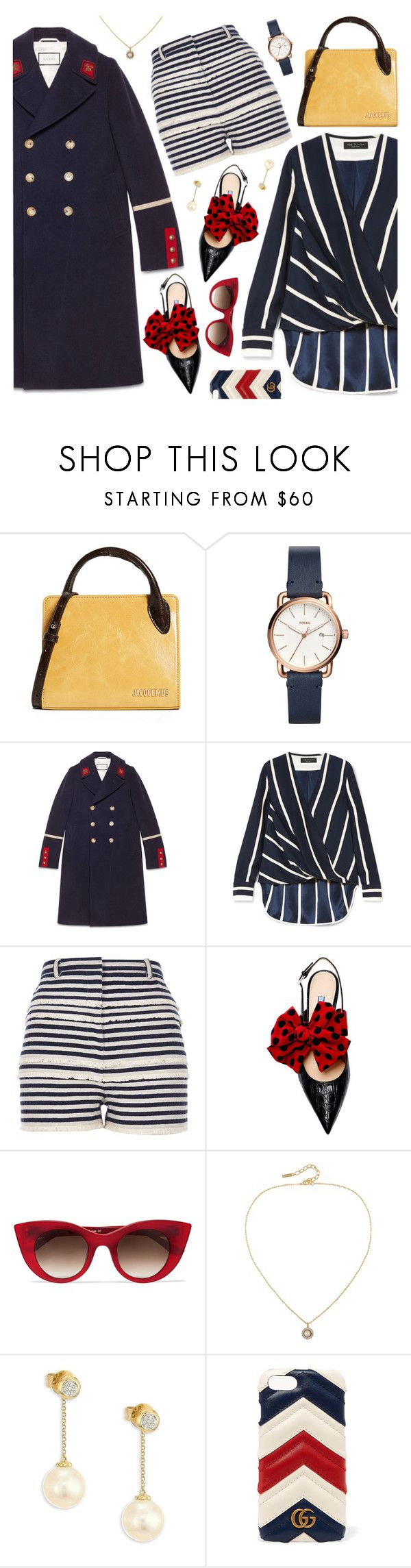 """Pattern Challenge: Stripes on Stripes"" by jychooi ❤ liked on Polyvore featuring Jacquemus, FOSSIL, Gucci, rag & bone, River Island, Thierry Lasry, Susan Caplan Vintage, Yoko London, contestentry and polyvorecontest"