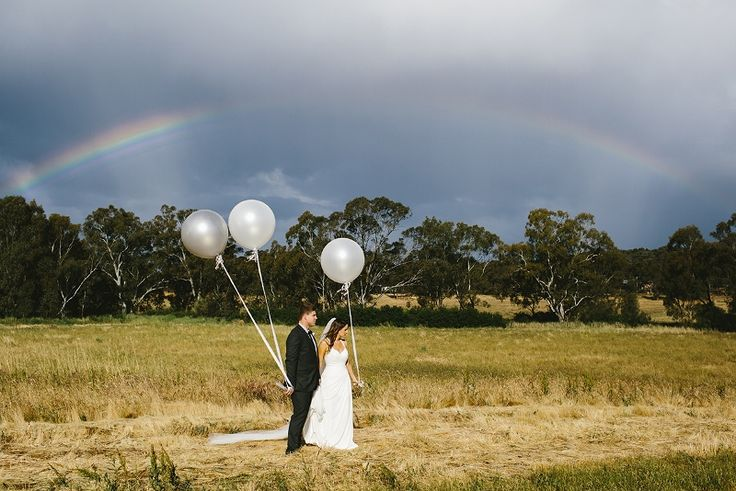 Love the rainbow and balloons, @ Chateau Dore Winery.  Photography by www.lizarcus.com