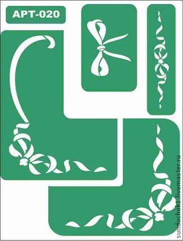 трафарет 020 - зелёный,трафарет,трафареты,Декупаж,материалы для декупажа