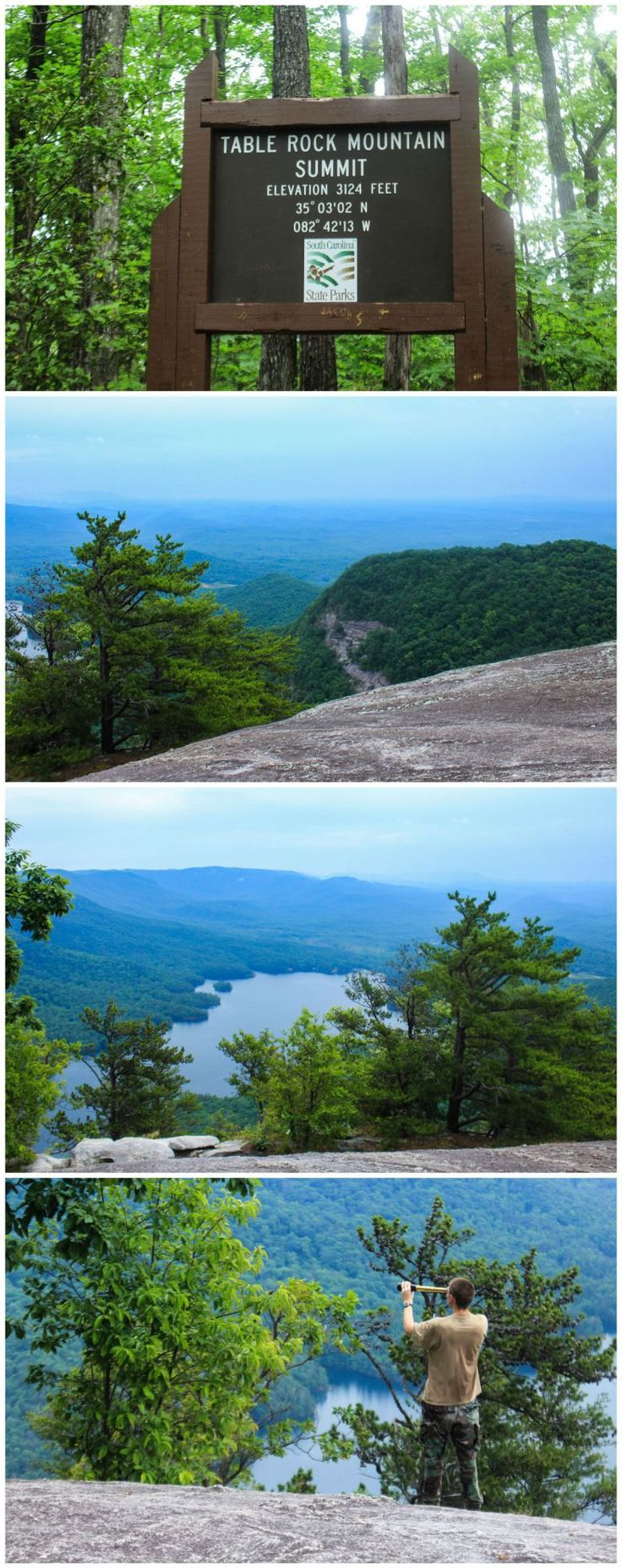Hiking in South Carolina: Hiking from Table Rock State Park to Table Rock, the Rim Trail to Pinnacle Mountain, and Foothills trail to Sassafras Mountain, South Carolina's high point.