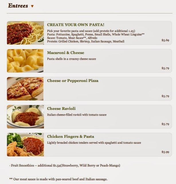 25 best images about kids menu on pinterest creative - Gluten free menu at olive garden ...