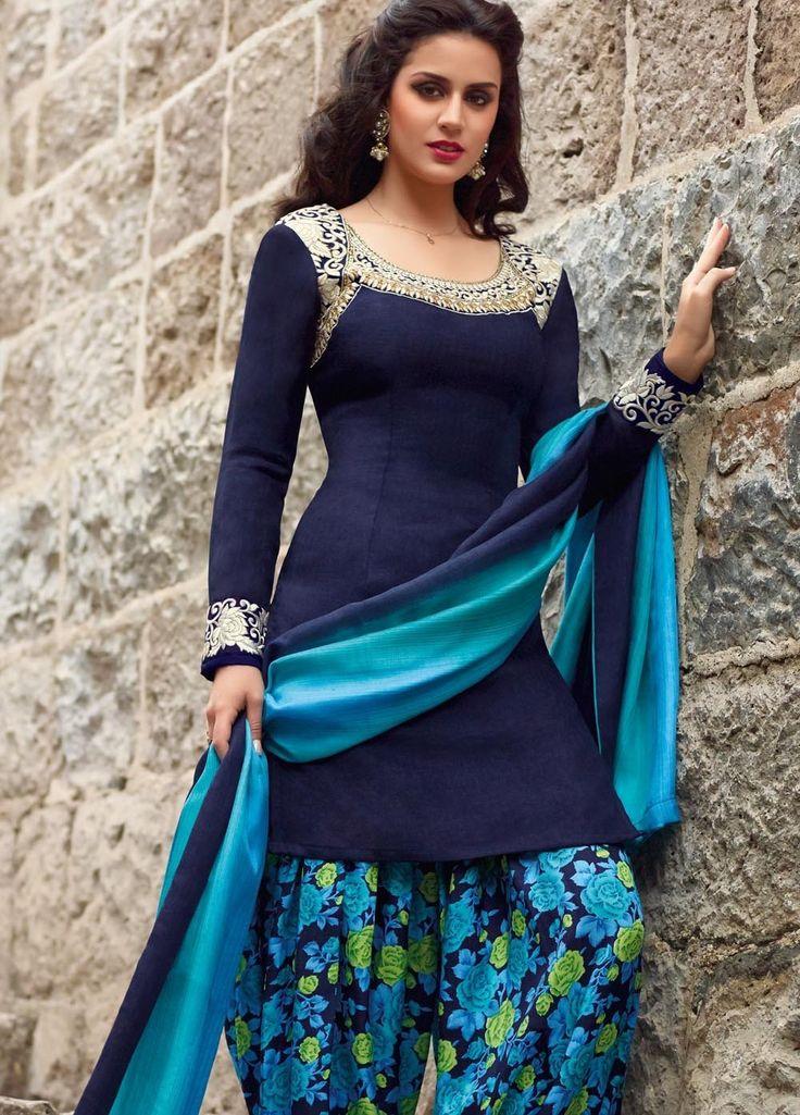 Blue Tussar Silk Punjabi Suit