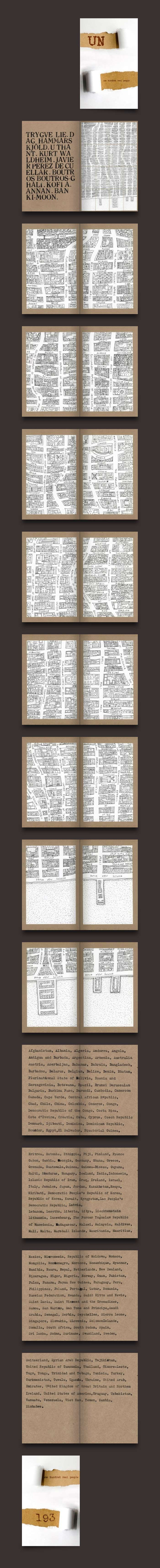 UN. A book which consists of a hand drawn map over 16 postcards with a road for each of the 193 United Nations Members and a list of those countries. Hand drawn maps, Rubber stamp print and typewriter.     Printed on demand by Magcloud:    http://www.magcloud.com/browse/issue/358923