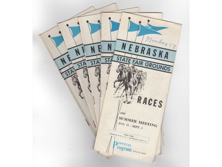 1959 Nebraska State Fair Grounds Horse Racing Programs, Vintage 1950s Race Schedules, Lot of 5, Collectible, Souvenir History, Lincoln NE by vintagebarrel on Etsy