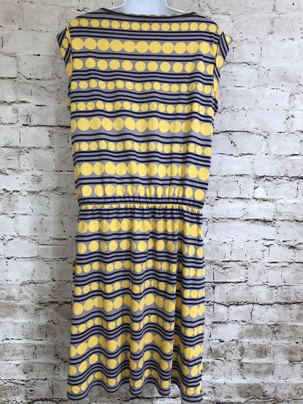 Boden Sz 10 US Modal Cotton Gray Yellow Navy Elastic Waist Dress | eBay