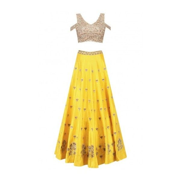 Yellow gingko embroidered lehenga skirt and cold shoulder blouse set... ($2,198) ❤ liked on Polyvore featuring tops, blouses, cold shoulder tops, cut shoulder tops, yellow blouse, cut-out shoulder tops and cut out shoulder blouse