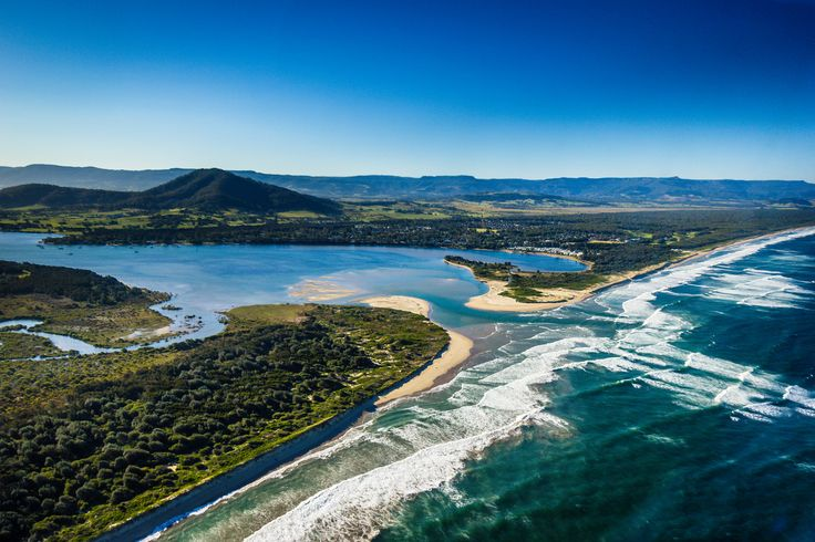 The Shoalhaven River, Shoalhaven Heads, Seven Mile Beach and, in the background, Mount Coolangatta - South Coast NSW, Australia.