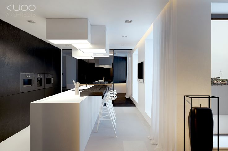BIELSKO-BIALA // SFERA // APARTMENT // 167m2 | KUOO Architects Kitchens black white minimal bjad cortines.