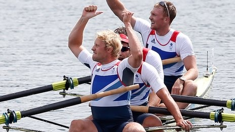 GB winning quartet of Pete Reed, Andy Triggs Hodge, Tom James and Alex Gregory - Mens Four