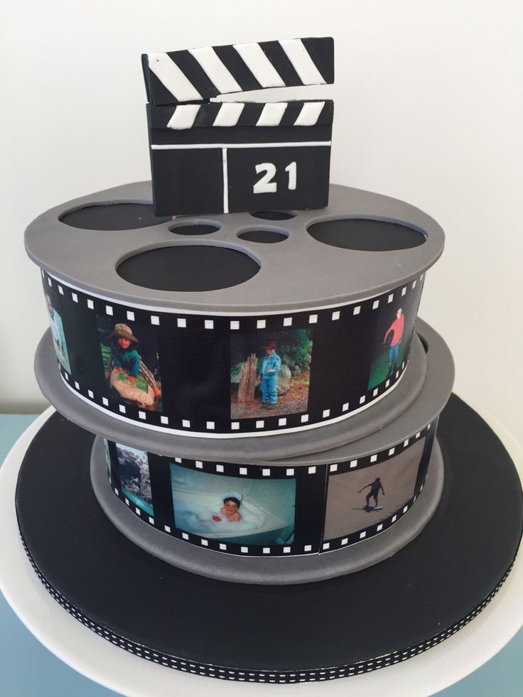 Film reel cake for a young animator chocolates mud cake covered in chocolate ganache