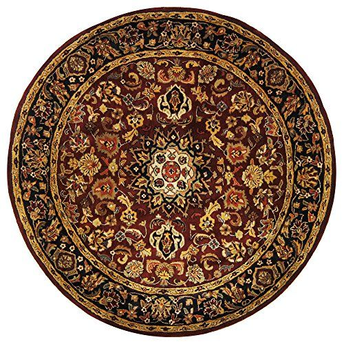 Safavieh Classic Collection CL362A Handmade Burgundy and Navy Wool Round Area Rug, 6 feet in Diameter (6′ Diameter)
