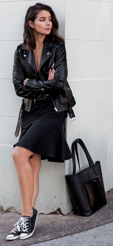Thin soled Converse + bare legs + skirt + Sara Donaldson + summery and sweet Jacket: IRO, Skirt: Albus Lumen, Cami: ASOS, Sneakers: Converse, Tote: TDE.