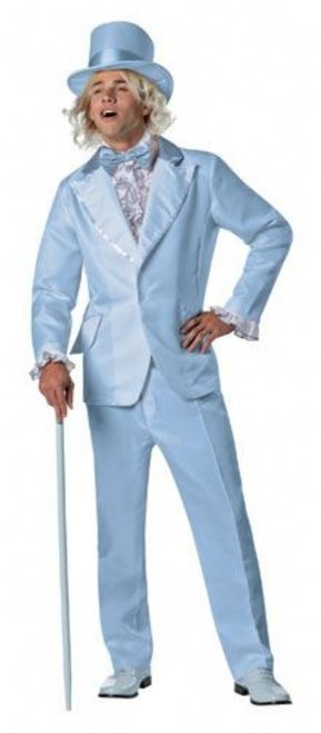 """Blue Dumb and Dumber Tuxedo Costume - """"All we need to do is show a little class, a little sophistication, and we're in like a dirty shirt."""" -Lloyd, Dumb & DumberShow up at your next theme party with this hilarious Blue tux costume.Costume comes complete with jacket, pants, hat and blue ruffle dickie. Hat, Jacket and pants are made from a soft polyester fleece, while dickie is a combination of cotton and satin. #yyc #calgary #mens #suit #costume"""