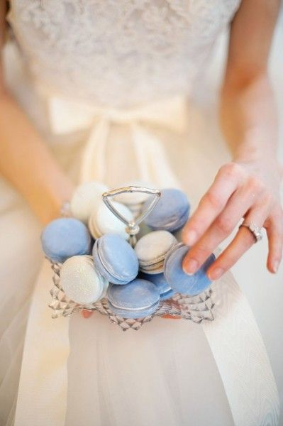 Serenity blue and cream macaroons are the perfect treat for your wedding guests at a spring garden wedding.: