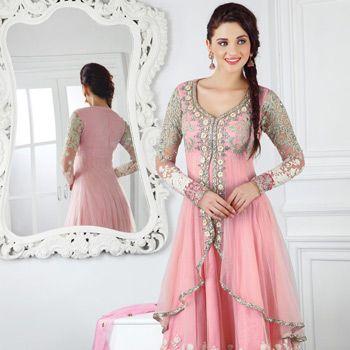 Peach Net Anarkali Churidar Kameez Online Shopping: KSX1270A