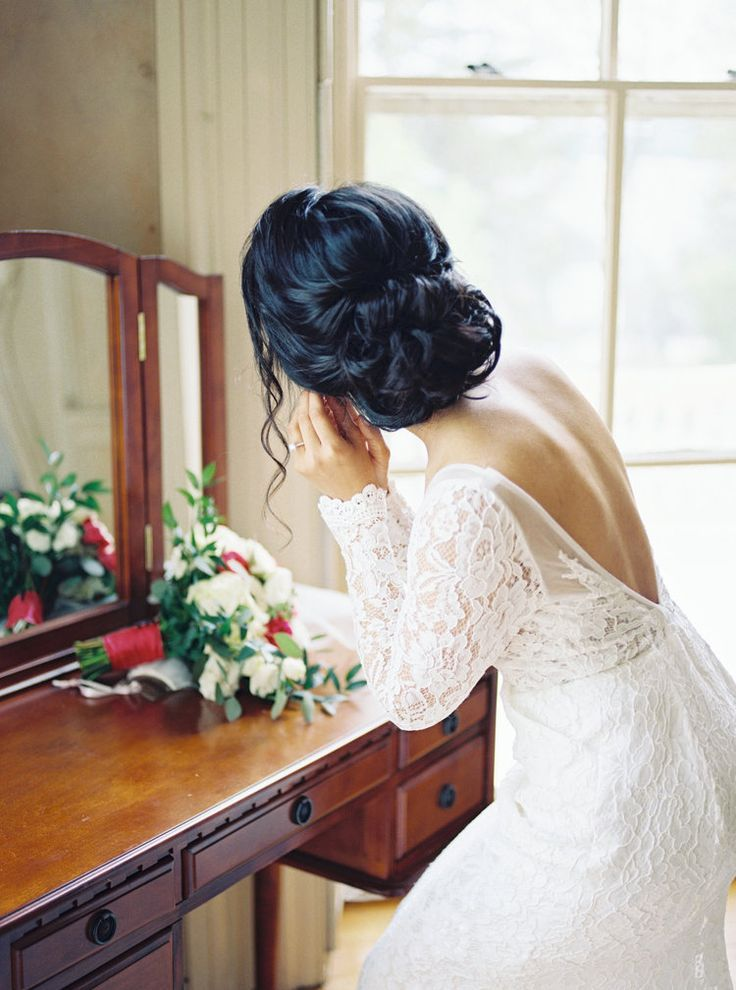 Hochzeitsfrisuren halb hoch halb runter, mit Schleier, mit Blumen Brauthaar, lange …   – Hair