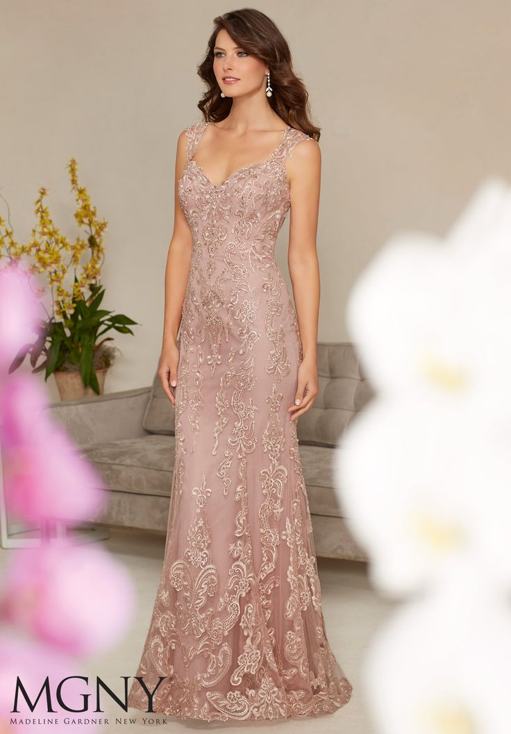 Net with Beaded and Embroidered Appliqués Evening Gown/Mother of the Bride Dress Designed by Madeline Gardner. Colors available: Mocha, Blush, Silver.