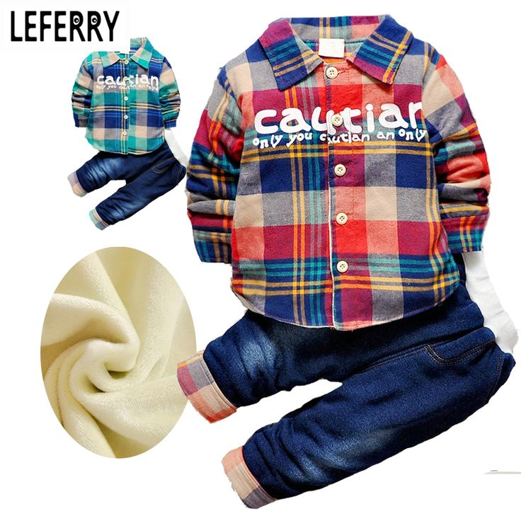 2017 New Toddler Boys Clothing Sets Velvet Shirts + Jeans Kids Winter Clothes Boys Baby Clothes Set Winter Suits For Boys