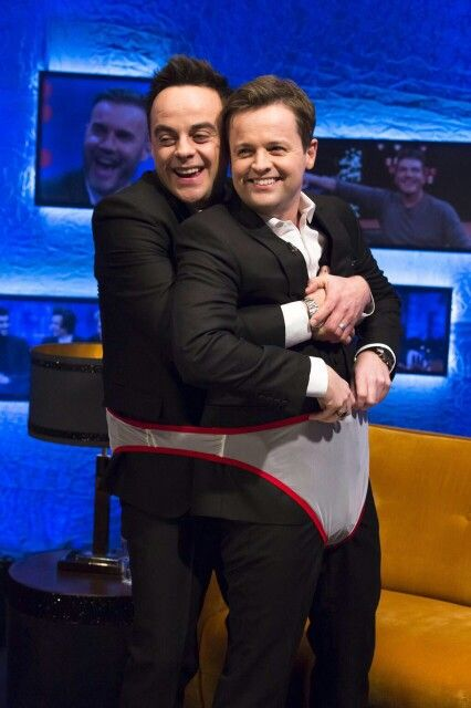Jonathan Ross show - Ant and Dec trying out fundies (underwear for two)