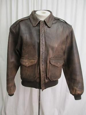 Avirex Type A 2 Distressed Brown 'Old Leather Flight Jacket' Size Small
