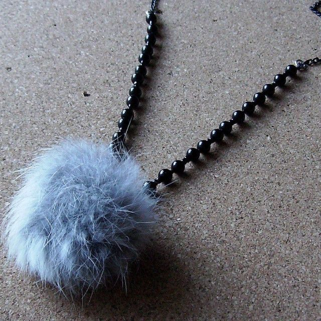 Wooly necklace  #necklace #long_necklace #ponpon #fur #black_pearls  Μακρυ κολιε με γουνινο πον πον
